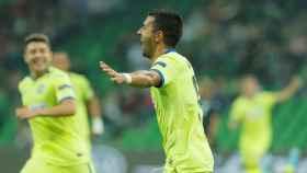Ángel, tras marcar uno de los goles del Getafe ante el Krasnodar