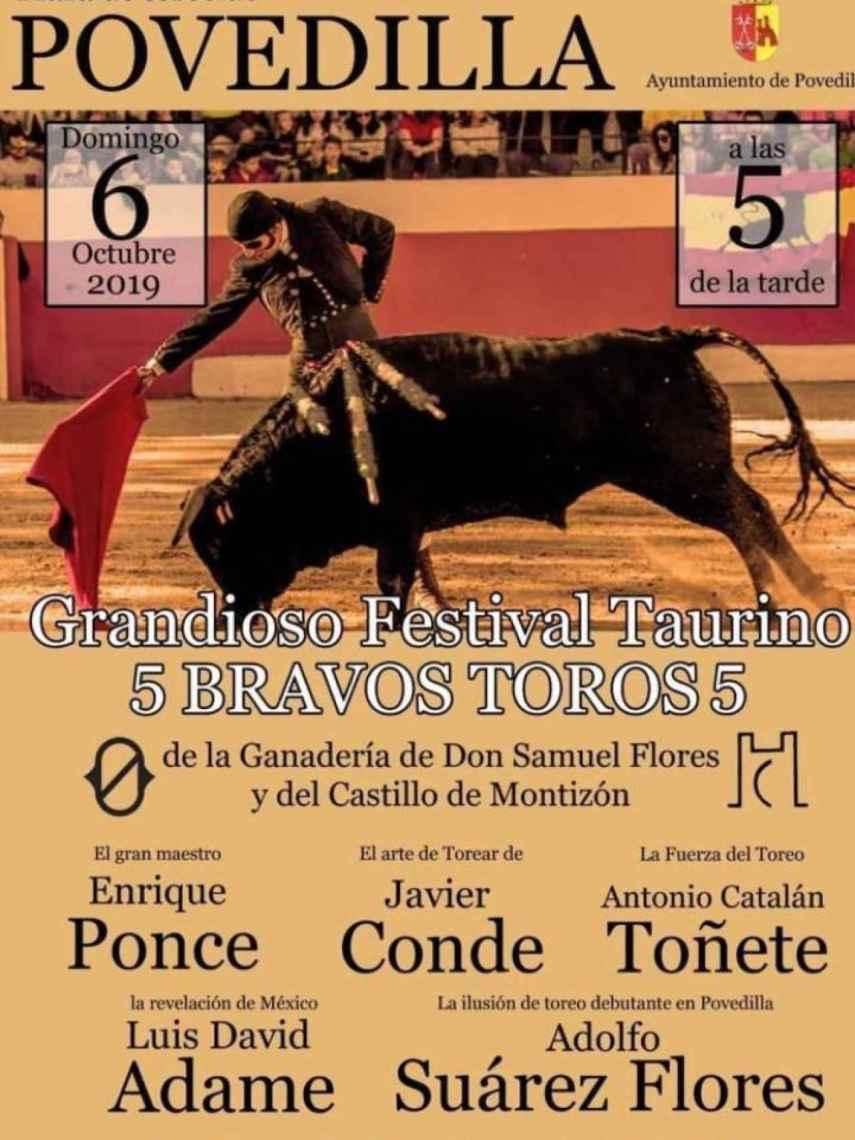 Cartel del festival taurino de Povedilla (Albacete).