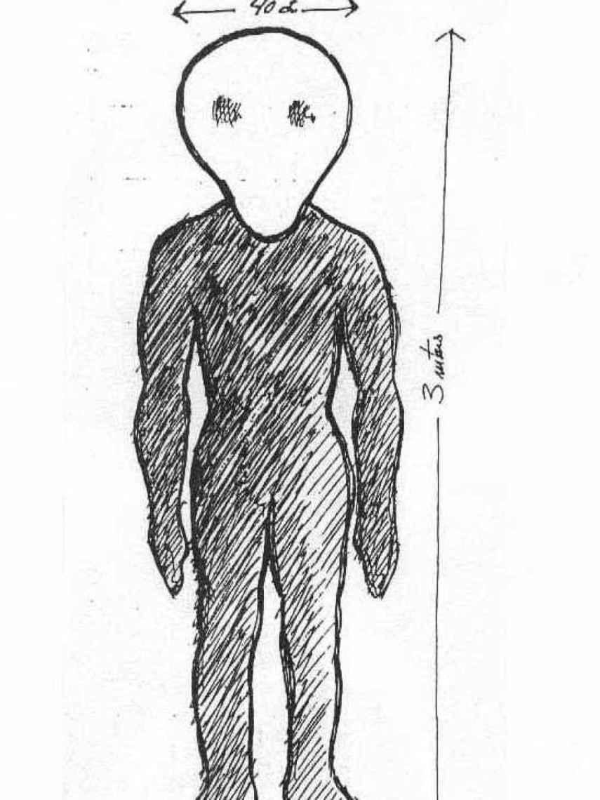 Dibujo de uno de los supuestos humanoides de Conil