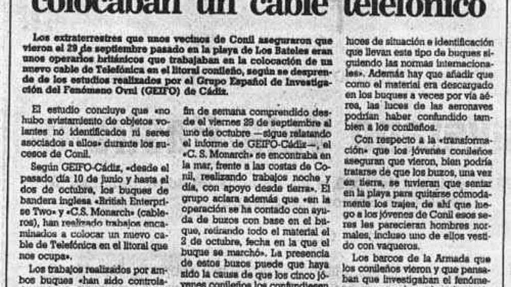 Explicación del Diario de Cádiz al supuesto avistamiento
