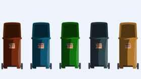 Una ilustración de cinco contenedores de reciclaje.