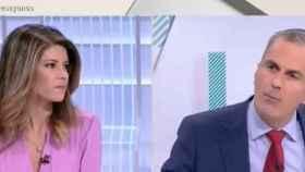 La periodista Elsa de Blas  y Ortega Smith en 'Los Desayunos de TVE'