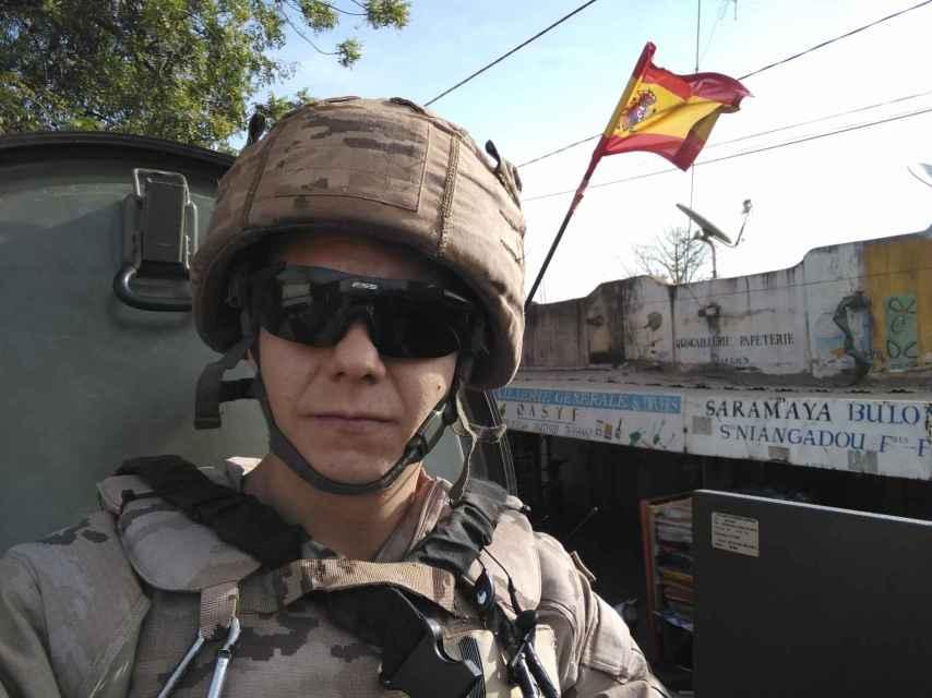 El soldado Richard Ríos, en su misión en Mali.