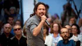 El líder de Podemos, Pablo Iglesias, durante su acto de precampaña en Madrid.