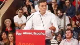 El presidente del Gobierno en funciones, Pedro Sánchez, en un mitin del PSOE en Vigo.