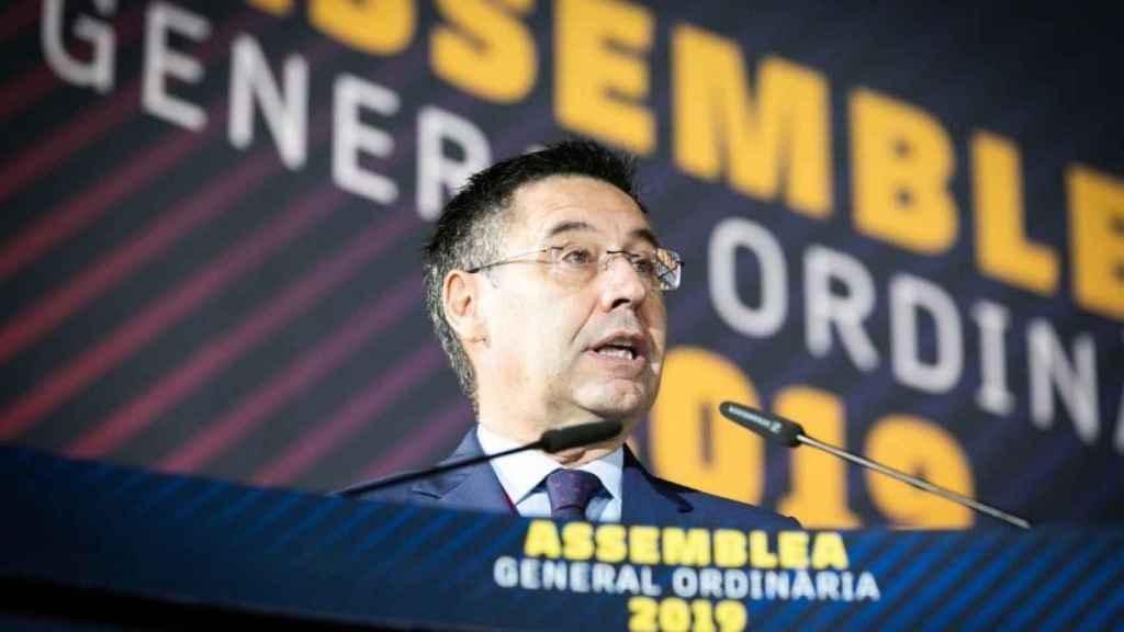 Josep María Bartomeu en la Asamblea General de Socios del Barça 2019.
