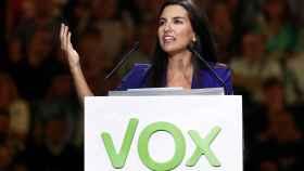 La presidenta del Vox en Madrid, Rocío Monasterio, en el Palacio de Vistalegre.