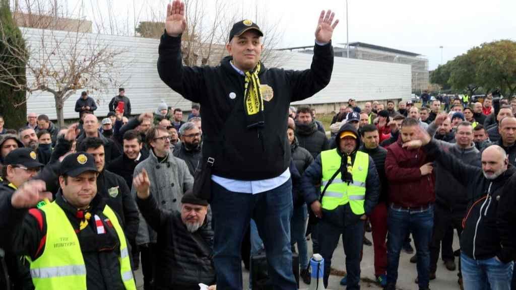 Tito Álvarez durante la pasada huelga del taxi