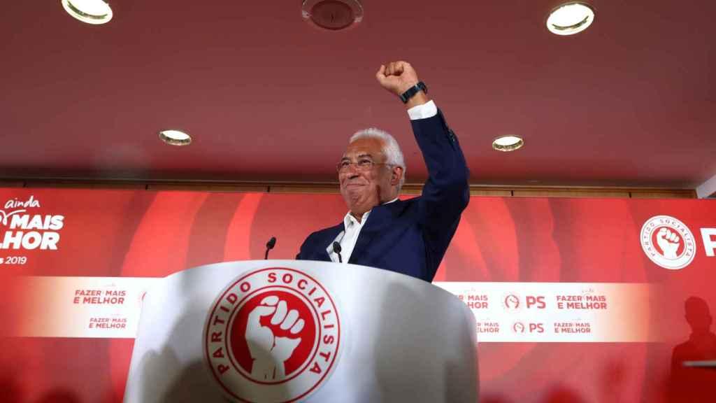 António Costa celebra la victoria en las elecciones.
