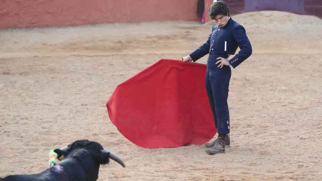 'Adolfito', en plena faena frente al toro.