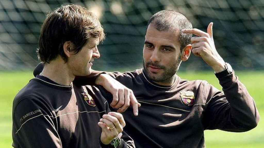 Tito Vilanova y Pep Guardiola en el Barcelona