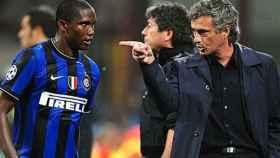 Samuel Eto'o y Mourinho en un partido.