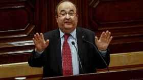 Miquel Iceta, durante su turno de palabra en el Parlamento regional catalán.
