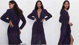 Modelo con vestido estampado de lunares de Zara.
