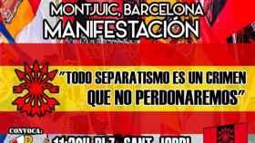 Cartel de la manifestación de Falange en Barcelona este 12 de octubre