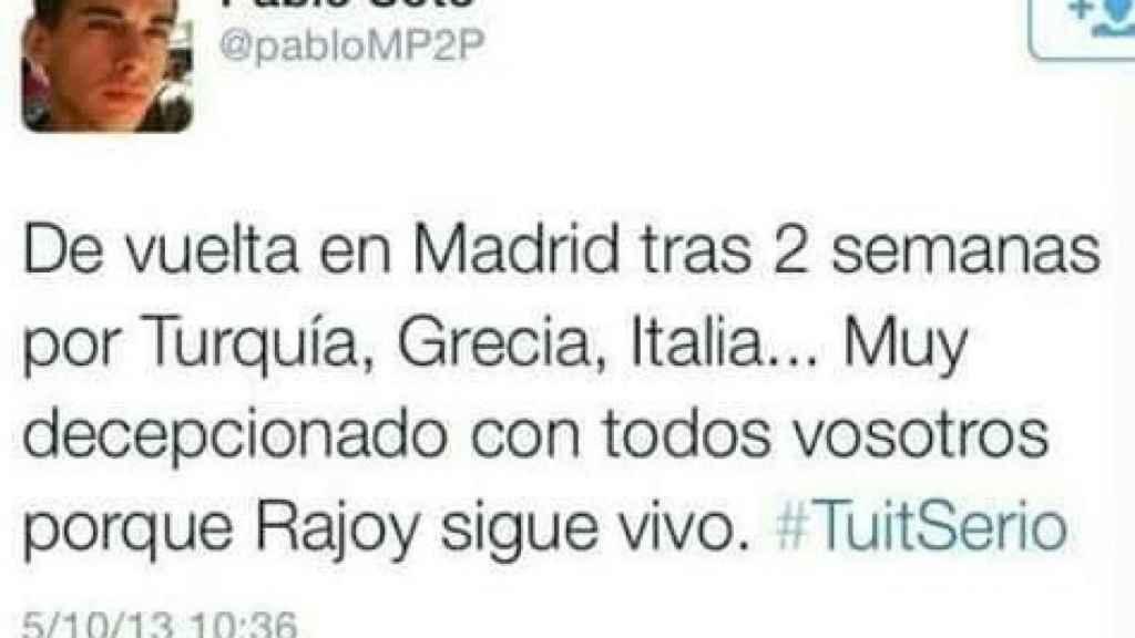 Mensaje de Pablo Soto sobre Mariano Rajoy