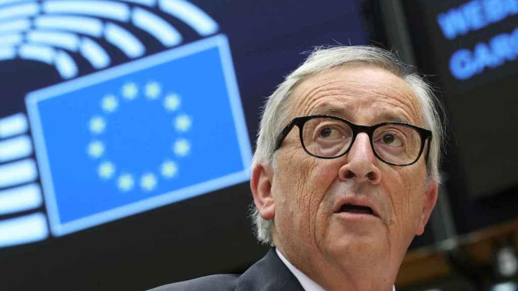 Jean-Claude Juncker, durante el debate en la Eurocámara este miércoles