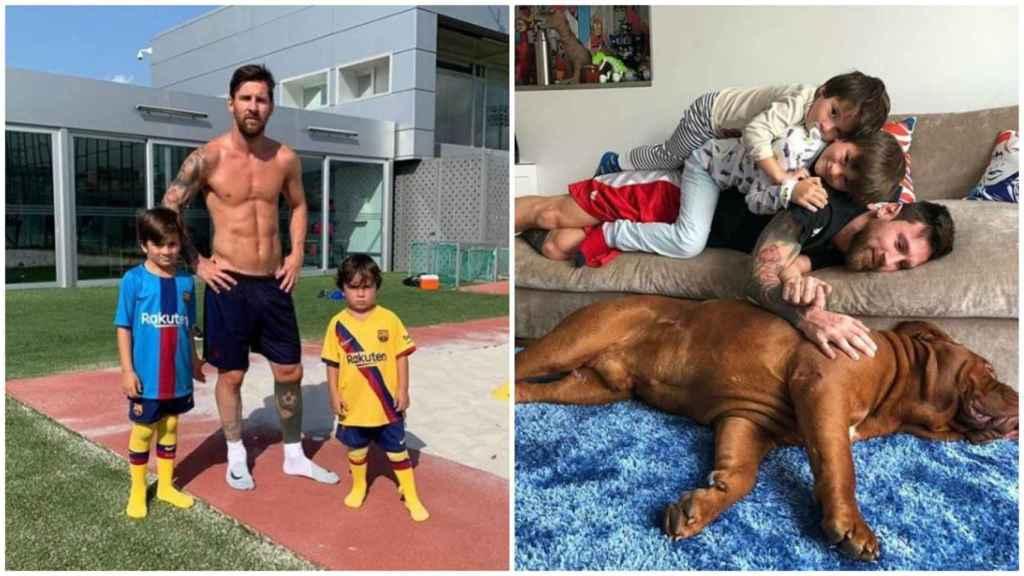 Lionel Messi con sus hijos Mateo y Thiago