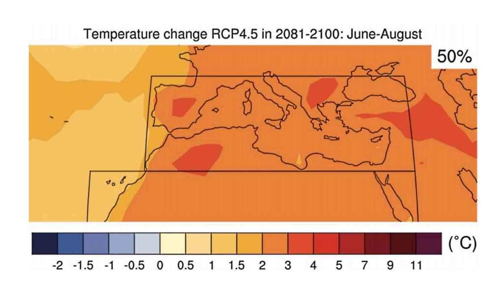 Aumento de las temperaturas medias en verano para finales de siglo según MedECC
