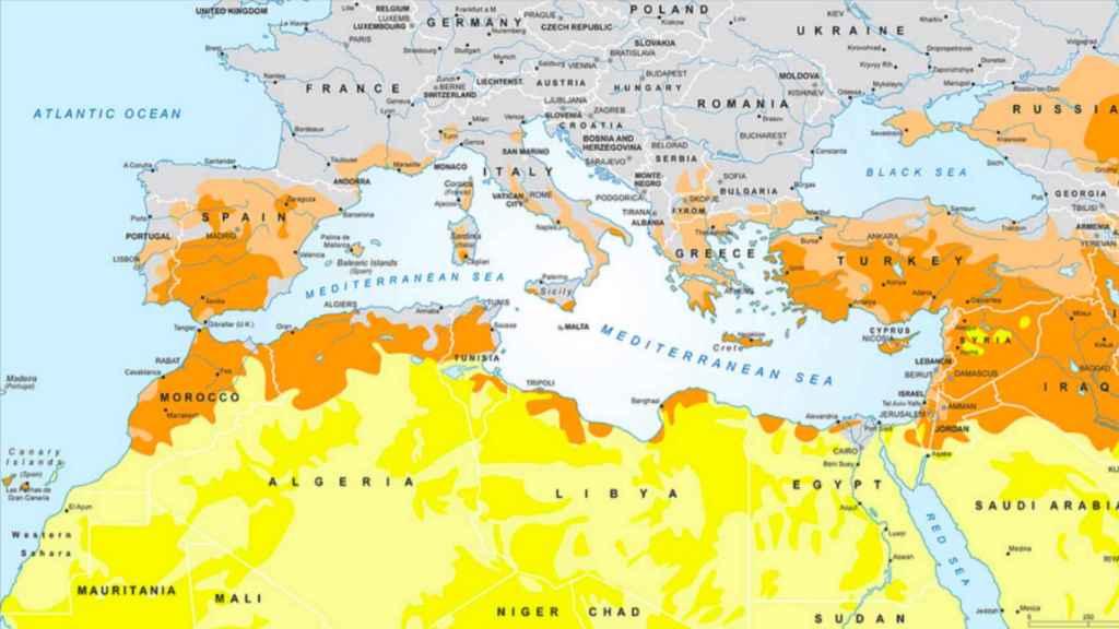 Las zonas en riesgo de desertificación según el informe de MedECC.