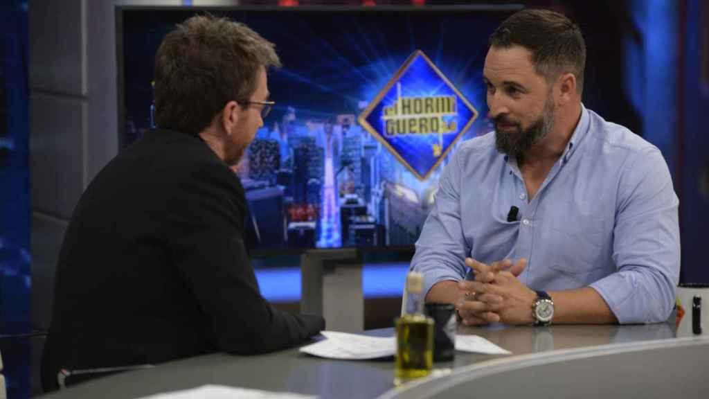 El líder de Vox, Santiago Abascal, durante la entrevista en 'El Hormiguero'.