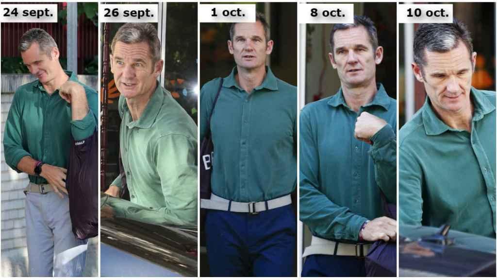 Iñaki Urdangarin vestido con camisa verde durante sus visitas al Hogar Don Orione.