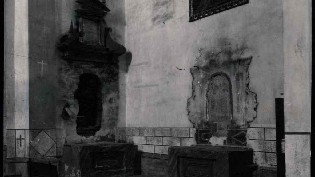 Iglesia parroquial saqueada en Oropesa (Toledo).