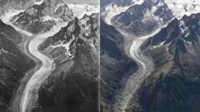 Comparativa de glaciar Mer du Glace entre 1919 y 2019.