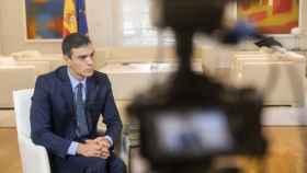 El presidente del Gobierno, Pedro Sánchez, durante la entrevista con EL ESPAÑOL.