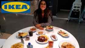 Nelia Pelegrino, delante de toda la comida de Ikea que hemos analizado.