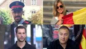 A la izquierda, los mossos independentistas más conocidos; a la derecha, los constitucionalistas