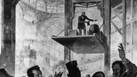 Elisha Otis, presentando su ascensor en Nueva York.