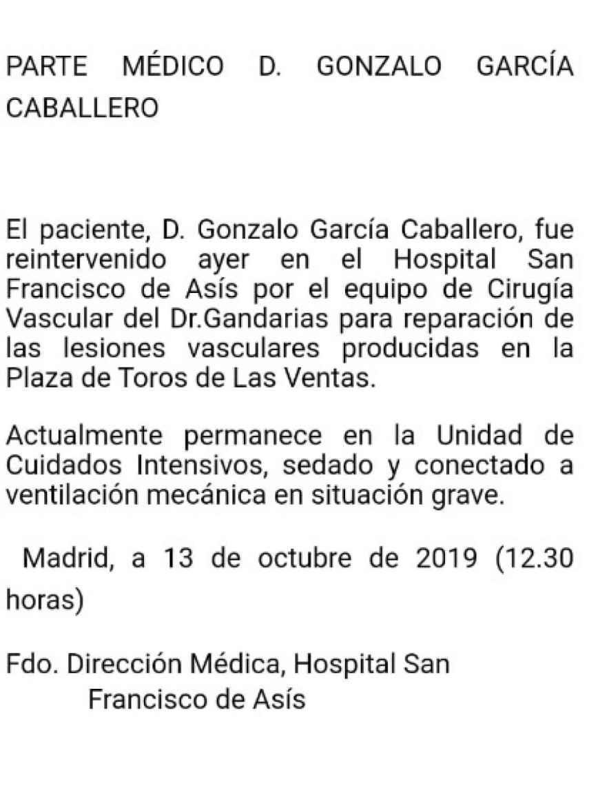 Último parte médico de Gonzalo Caballero tras la intervención.