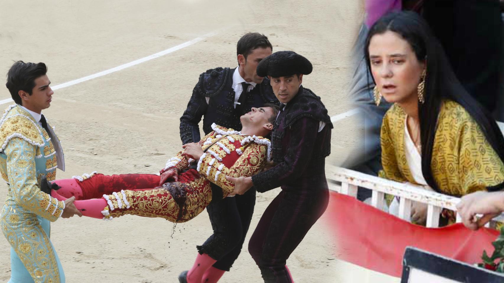 Victoria Federica, entre el público disfrutando de la faena de su amigo Gonzalo Caballero en Las Ventas   Montaje de JALEOS.