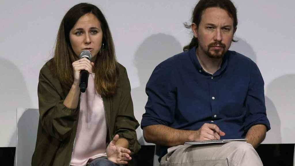 Ione Belarra y Pablo Iglesias, en la presentación del programa de Podemos para el 10-N.
