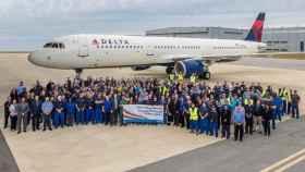 Trabajadores de Airbus en la planta de Mobile, Alabama.