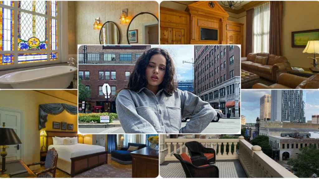 Rosalía y el hotel en el que se ha alojado en Austin en un combo JALEOS.