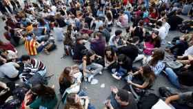 Sentada de los estudiantes en contra de la sentencia del 'procés'