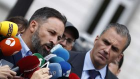 Santiago Abascal y Javier Ortega Smith a las puertas del Tribunal Supremo.