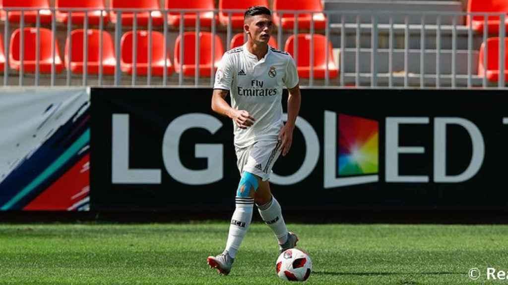 Adrián de la Fuente en un partido con el Castilla