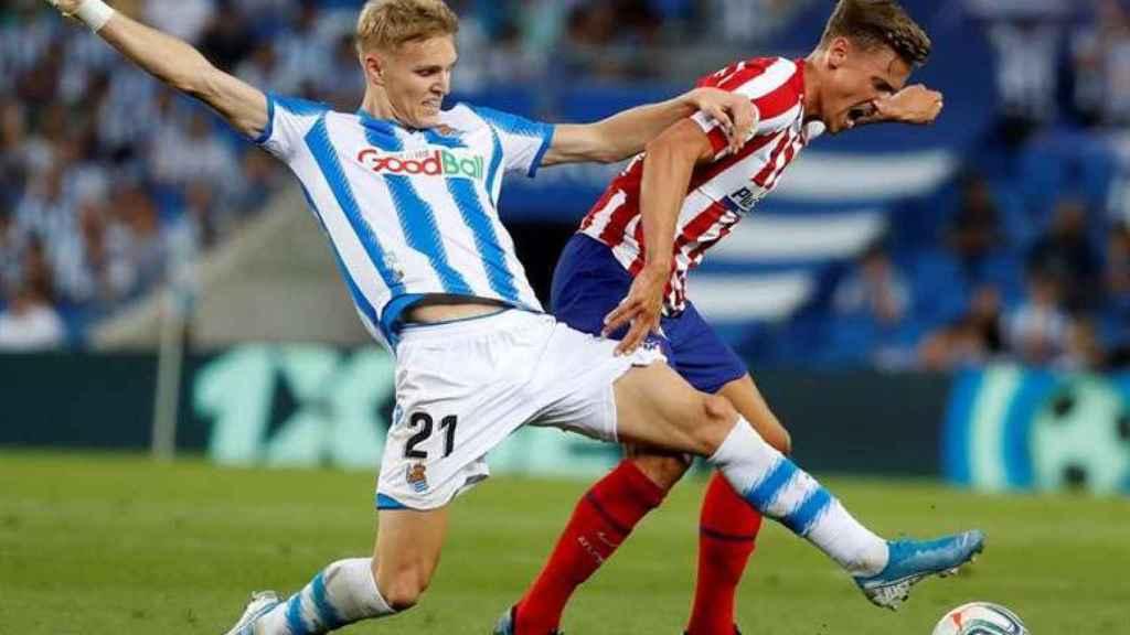 Martin Odegaard en un partido con la Real Sociedad