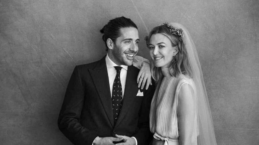 Carlos Torreta y Marta Ortega en el día de su boda.