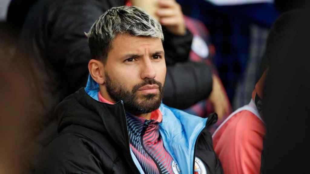 Kün Aguero, durante un partido con el Manchester City