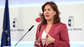 La consejera portavoz del Gobierno de Castilla-La Mancha, Blanca Fernández, este miércoles en rueda de prensa. Foto: Óscar Huertas
