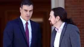 El presidente del Gobierno, Pedro Sánchez, y el vicepresidente, Pablo Iglesias, en Moncloa.