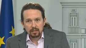 Pablo Iglesias, en rueda de prensa en Moncloa.