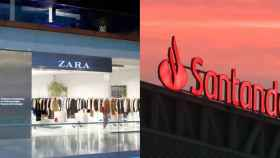 La marca de Zara y Santander en una imagen de archivo.