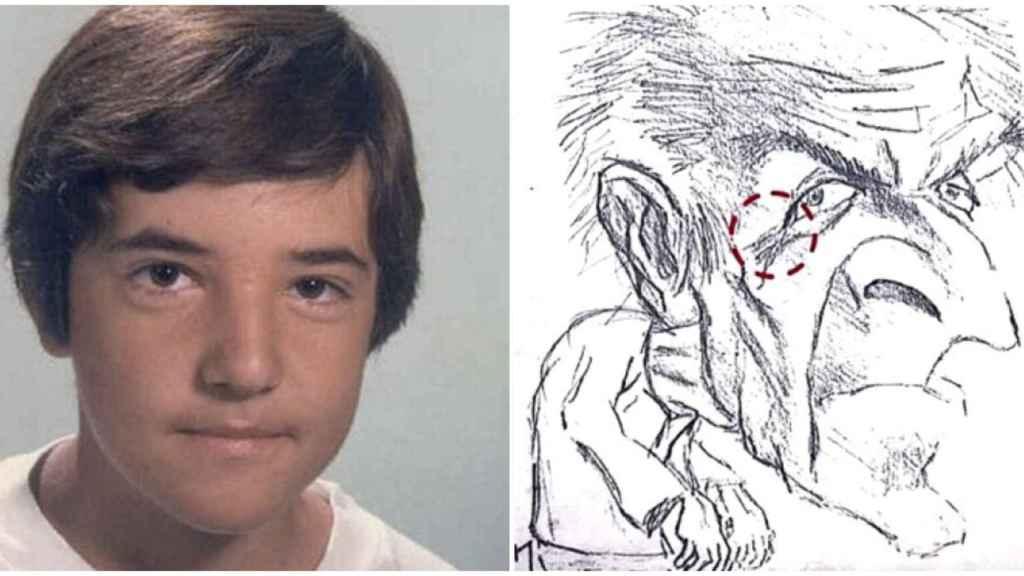 El niño pintor y la caricatura que realizó del hombre suizo.