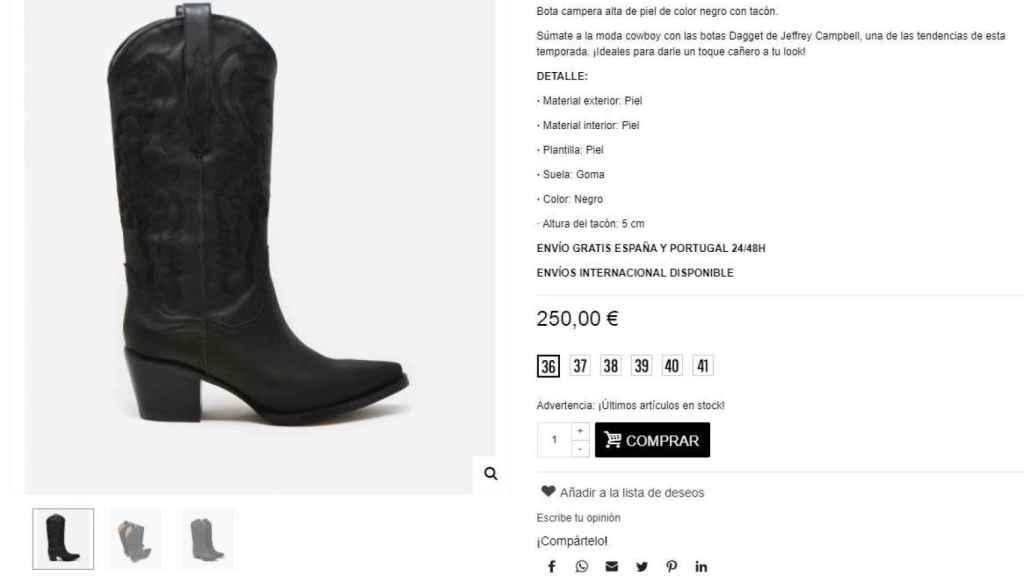 Captura de la tienda online de Au Revoir Cinderella en el momento de la compra de las botas.