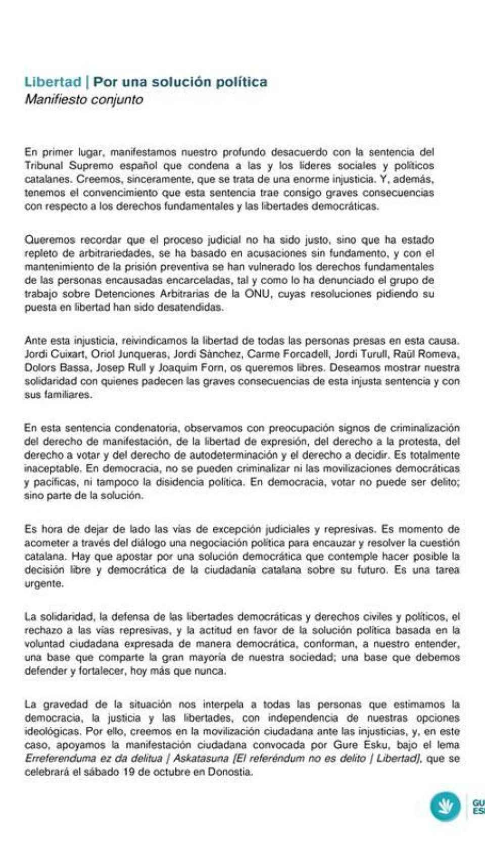 Manifiesto plataforma soberanista 'Gure Esku Dago'